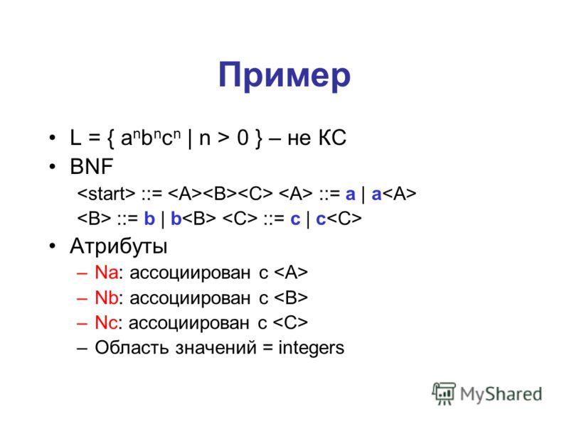 Пример L = { a n b n c n | n > 0 } – не КС BNF ::= ::= a | a ::= b | b ::= c | c Атрибуты –Na: ассоциирован с –Nb: ассоциирован с –Nc: ассоциирован с –Область значений = integers