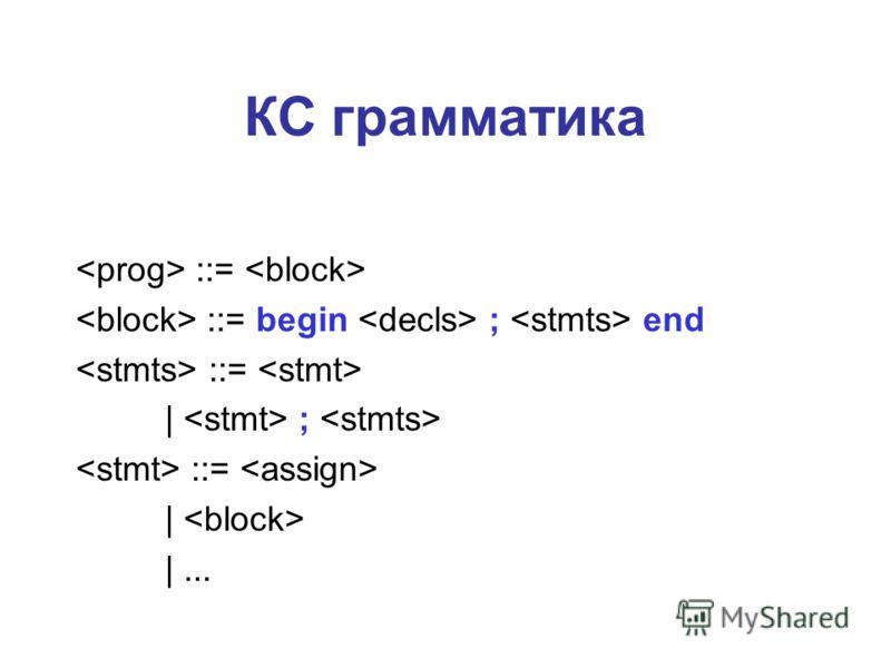КС грамматика ::= ::= begin ; end ::= | ; ::= | |...