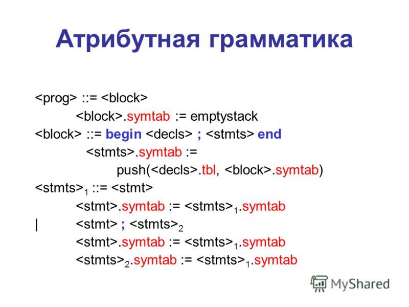 Атрибутная грамматика ::=.symtab := emptystack ::= begin ; end.symtab := push(.tbl,.symtab) 1 ::=.symtab := 1.symtab | ; 2.symtab := 1.symtab 2.symtab := 1.symtab