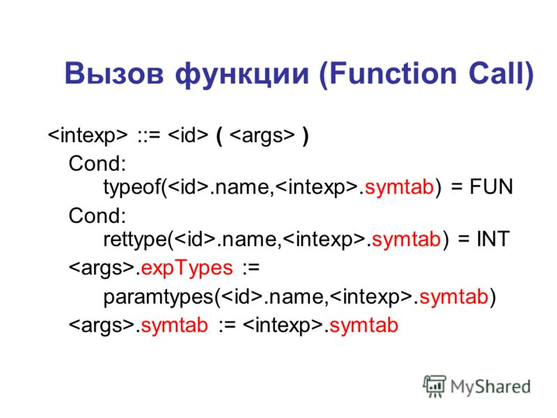 Вызов функции (Function Call) ::= ( ) Cond: typeof(.name,.symtab) = FUN Cond: rettype(.name,.symtab) = INT.expTypes := paramtypes(.name,.symtab).symtab :=.symtab