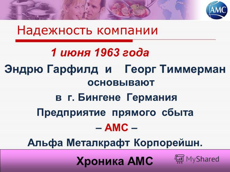 Надежность компании 1 июня 1963 года Эндрю Гарфилд и Георг Тиммерман основывают в г. Бингене Германия Предприятие прямого сбыта – АМС – Альфа Металкрафт Корпорейшн. Хроника АМС