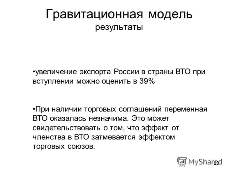 28 Гравитационная модель результаты увеличение экспорта России в страны ВТО при вступлении можно оценить в 39% При наличии торговых соглашений переменная ВТО оказалась незначима. Это может свидетельствовать о том, что эффект от членства в ВТО затмева