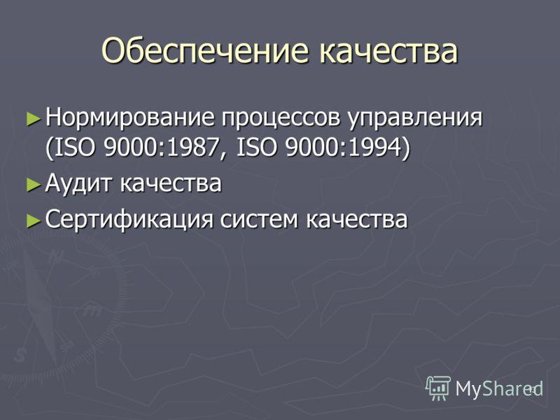 13 Обеспечение качества Нормирование процессов управления (ISO 9000:1987, ISO 9000:1994) Нормирование процессов управления (ISO 9000:1987, ISO 9000:1994) Аудит качества Аудит качества Сертификация систем качества Сертификация систем качества