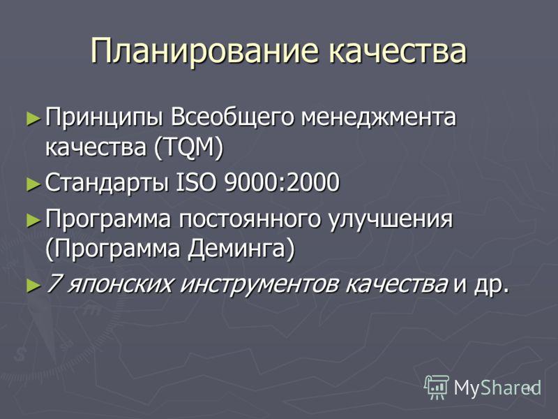 14 Планирование качества Принципы Всеобщего менеджмента качества (TQM) Принципы Всеобщего менеджмента качества (TQM) Стандарты ISO 9000:2000 Стандарты ISO 9000:2000 Программа постоянного улучшения (Программа Деминга) Программа постоянного улучшения (