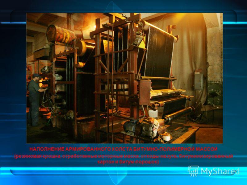 НАПОЛНЕНИЕ АРМИРОВАННОГО ХОЛСТА БИТУМНО-ПОЛИМЕРНОЙ МАССОЙ (резиновая крошка, отработанные моторные масла, отходы мазута, битуминизированный картон и битум-порошок)