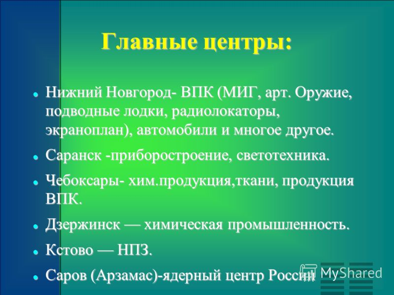 Главные центры: Нижний Новгород- ВПК (МИГ, арт. Оружие, подводные лодки, радиолокаторы, экраноплан), автомобили и многое другое. Нижний Новгород- ВПК (МИГ, арт. Оружие, подводные лодки, радиолокаторы, экраноплан), автомобили и многое другое. Саранск