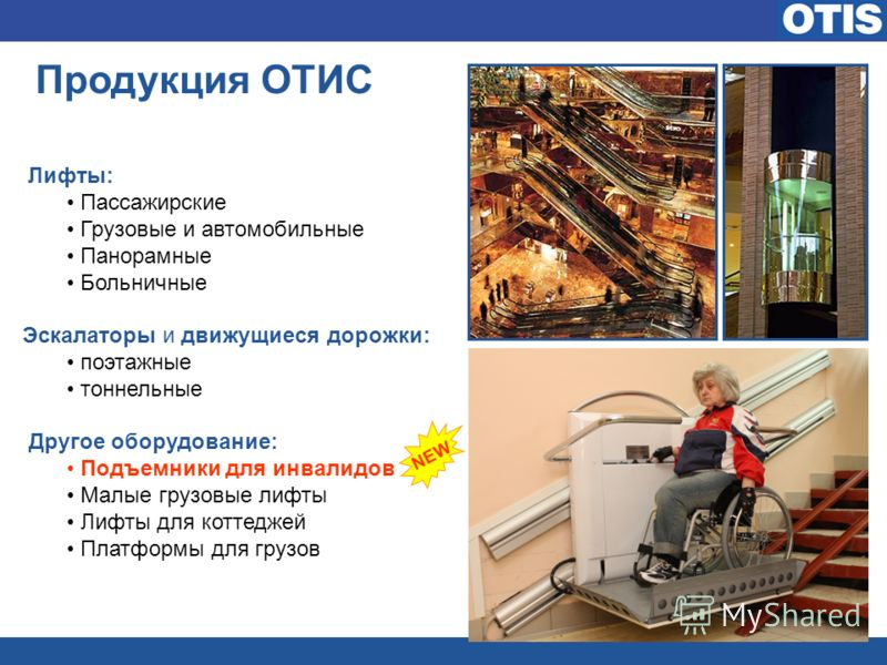 Продукция ОТИС Лифты: Пассажирские Грузовые и автомобильные Панорамные Больничные Эскалаторы и движущиеся дорожки: поэтажные тоннельные Другое оборудование: Подъемники для инвалидов Малые грузовые лифты Лифты для коттеджей Платформы для грузов NEW
