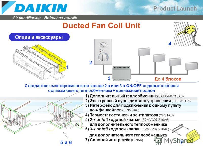 Air conditioning – Refreshes your life Product Launch Ducted Fan Coil Unit Опции и аксессуары До 4 блоков 1 3 4 Модуль вентилятора Модуль охлаждения Модуль нагрева 2 Стандартно смонтированные на заводе 2-х или 3-х ON/OFF-ходовые клапаны охлаждающего