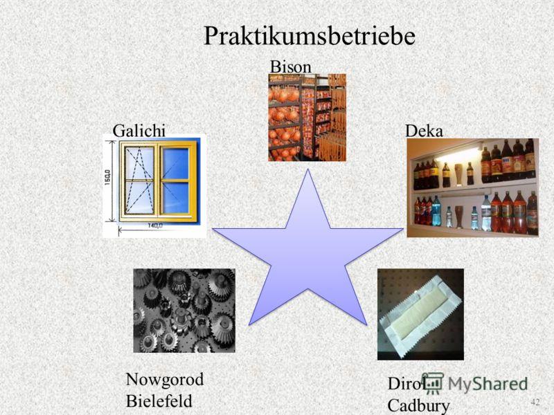Praktikumsbetriebe Bison GalichiDeka Dirol Cadbury Nowgorod Bielefeld Metall 42