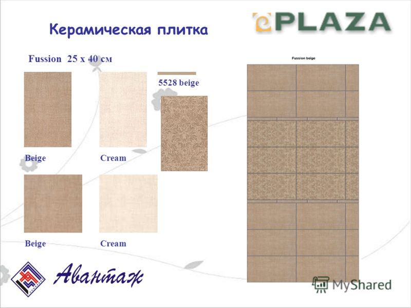 Керамическая плитка Fussion 25 х 40 см BeigeCream 5528 beige BeigeCream