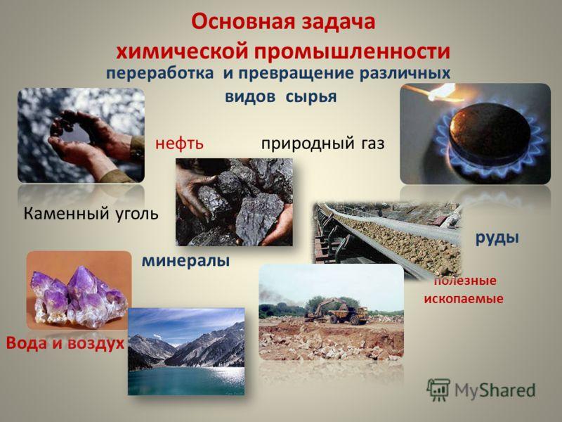 Основная задача химической промышленности переработка и превращение различных видов сырья нефть природный газ Каменный уголь руды минералы полезные ископаемые Вода и воздух