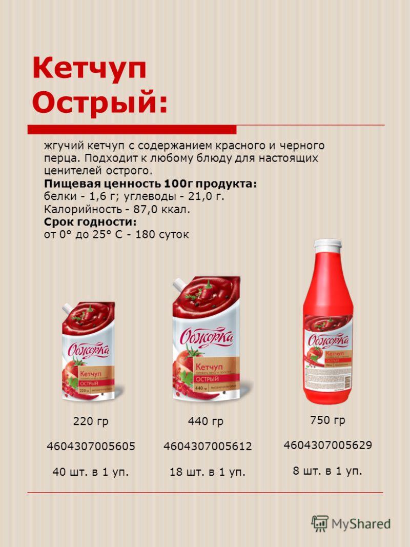жгучий кетчуп с содержанием красного и черного перца. Подходит к любому блюду для настоящих ценителей острого. Пищевая ценность 100г продукта: белки - 1,6 г; углеводы - 21,0 г. Калорийность - 87,0 ккал. Срок годности: от 0° до 25° С - 180 суток 220 г