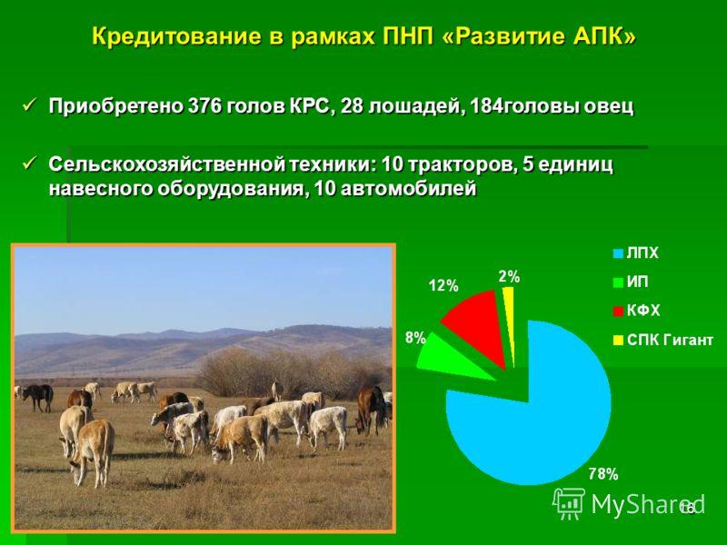 16 Приобретено 376 голов КРС, 28 лошадей, 184головы овец Приобретено 376 голов КРС, 28 лошадей, 184головы овец Сельскохозяйственной техники: 10 тракторов, 5 единиц навесного оборудования, 10 автомобилей Сельскохозяйственной техники: 10 тракторов, 5 е