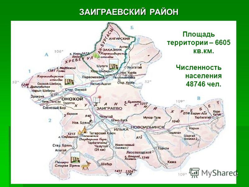 2 ЗАИГРАЕВСКИЙ РАЙОН Площадь территории – 6605 кв.км. Численность населения 48746 чел.