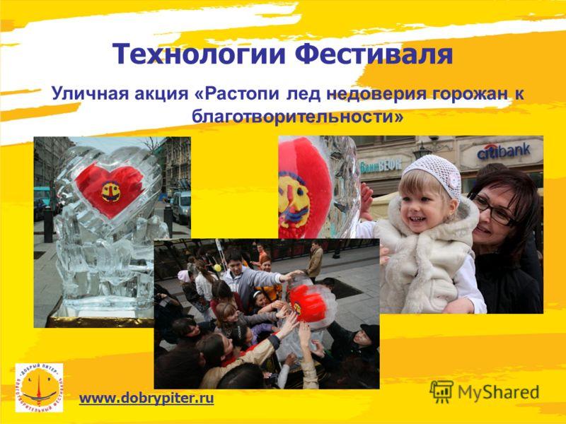 www.dobrypiter.ru Технологии Фестиваля Уличная акция «Растопи лед недоверия горожан к благотворительности»