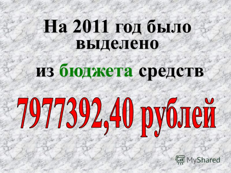 На 2011 год было выделено из бюджета средств из бюджета средств