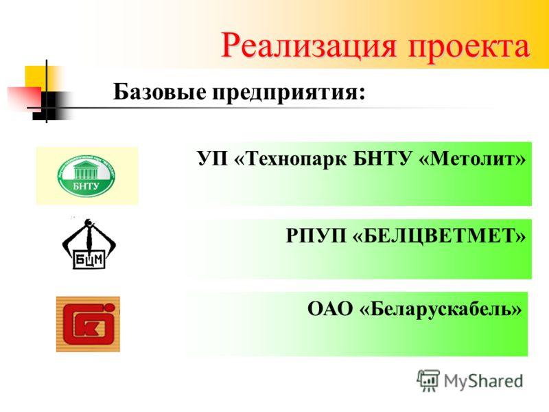 Реализация проекта УП «Технопарк БНТУ «Метолит» РПУП «БЕЛЦВЕТМЕТ» ОАО «Беларускабель» Базовые предприятия:
