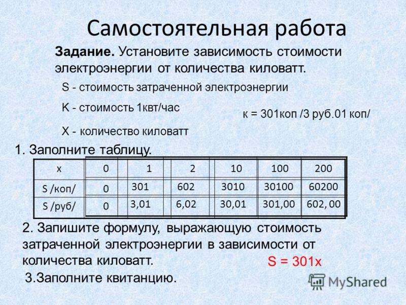 Самостоятельная работа Задание. Установите зависимость стоимости электроэнергии от количества киловатт. S - стоимость затраченной электроэнергии K - стоимость 1квт/час X - количество киловатт к = 301коп /3 руб.01 коп/ 1. Заполните таблицу. х012101002