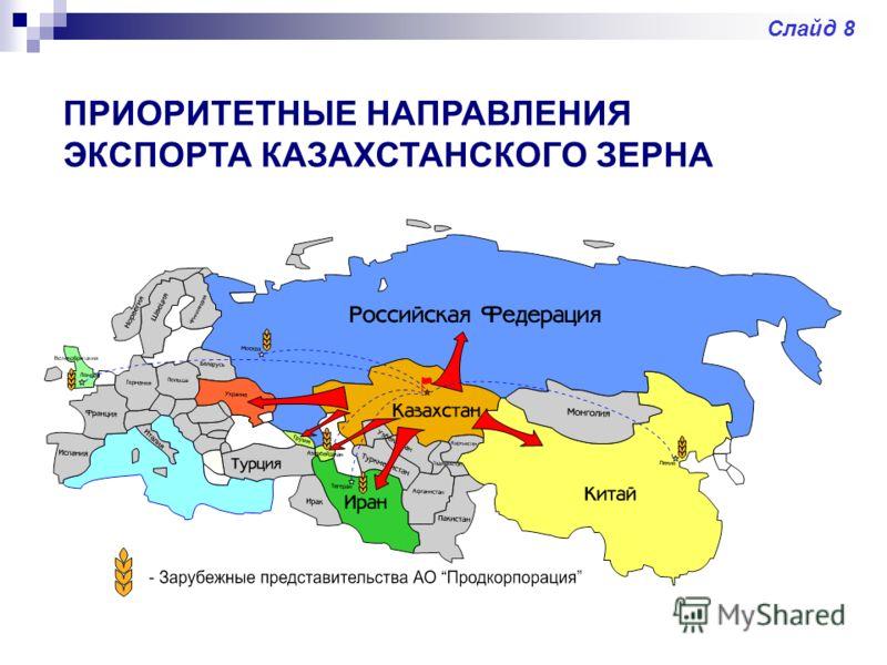 ПРИОРИТЕТНЫЕ НАПРАВЛЕНИЯ ЭКСПОРТА КАЗАХСТАНСКОГО ЗЕРНА Слайд 8