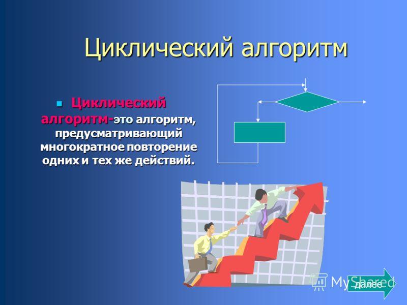 Циклический алгоритм Циклический алгоритм- это алгоритм, предусматривающий многократное повторение одних и тех же действий. Циклический алгоритм- это алгоритм, предусматривающий многократное повторение одних и тех же действий. далее