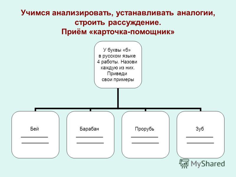 Учимся анализировать, устанавливать аналогии, строить рассуждение. Приём «карточка-помощник» У буквы «б» в русском языке 4 работы. Назови каждую из них. Приведи свои примеры Бей __________ Барабан __________ Прорубь __________ Зуб __________