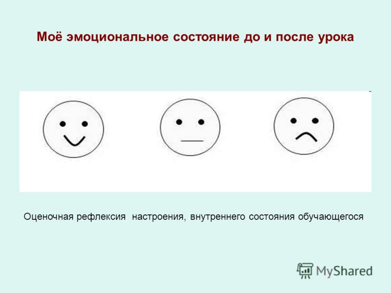 Моё эмоциональное состояние до и после урока Оценочная рефлексия настроения, внутреннего состояния обучающегося