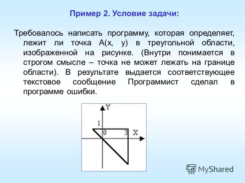 Пример 2. Условие задачи: Требовалось написать программу, которая определяет, лежит ли точка A(x, y) в треугольной области, изображенной на рисунке. (Внутри понимается в строгом смысле – точка не может лежать на границе области). В результате выдаетс