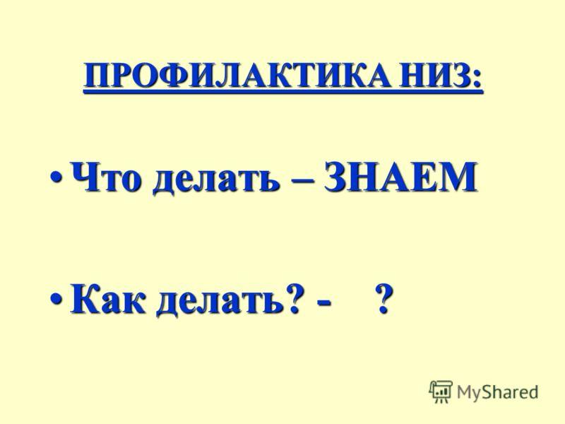 ПРОФИЛАКТИКА НИЗ: Что делать – ЗНАЕМЧто делать – ЗНАЕМ Как делать? - ?Как делать? - ?