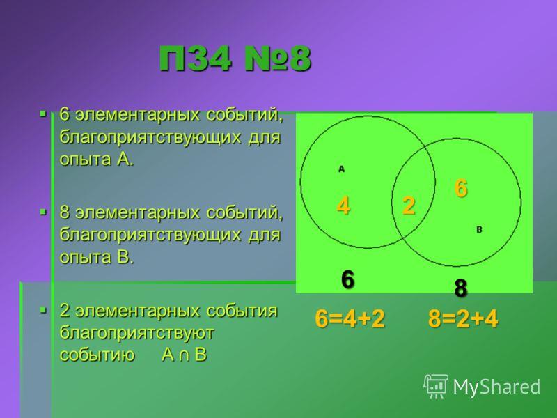 П34 8 П34 8 6 элементарных событий, благоприятствующих для опыта А. 6 элементарных событий, благоприятствующих для опыта А. 8 элементарных событий, благоприятствующих для опыта В. 8 элементарных событий, благоприятствующих для опыта В. 2 элементарных