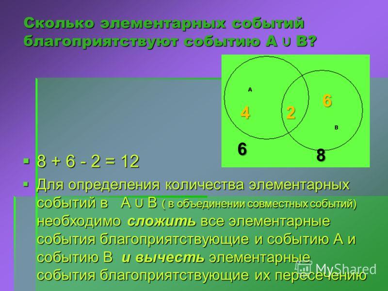 Сколько элементарных событий благоприятствуют событию А В? 8 + 6 - 2 = 12 Для определения количества элементарных событий в А В ( в объединении совместных событий) необходимо сложить все элементарные события благоприятствующие и событию А и событию В