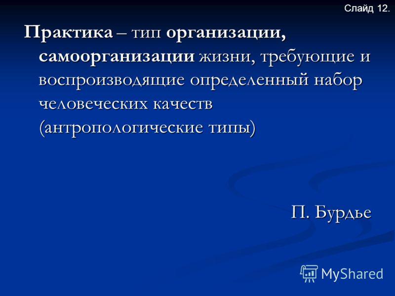 Практика – тип организации, самоорганизации жизни, требующие и воспроизводящие определенный набор человеческих качеств (антропологические типы) П. Бурдье Слайд 12.