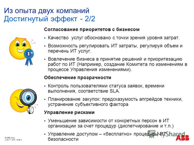 © ABB Group June 17, 2013 | Slide 6 Из опыта двух компаний Согласование приоритетов с бизнесом Качество услуг обосновано с точки зрения уровня затрат. Возможность регулировать ИТ затраты, регулируя объем и перечень ИТ услуг. Вовлечение бизнеса в прин
