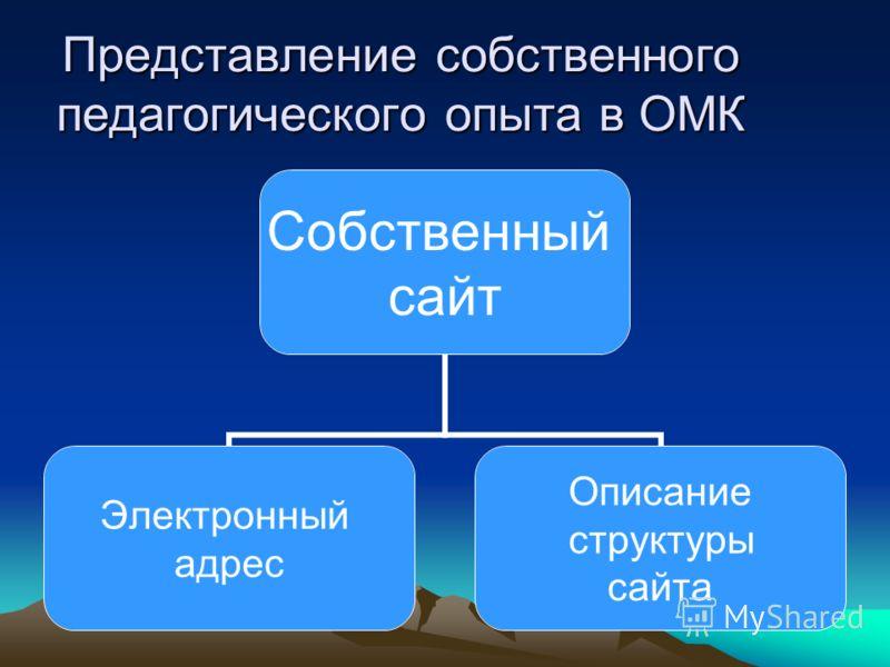 Представление собственного педагогического опыта в ОМК Собственный сайт Электронный адрес Описание структуры сайта