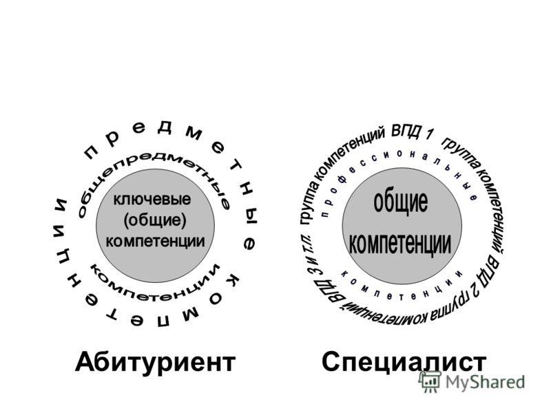 Схематическое представление структуры компетенций Абитуриент Специалист