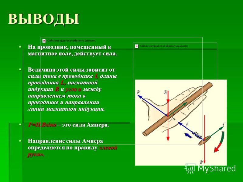 ВЫВОДЫ На проводник, помещенный в магнитное поле, действует сила. На проводник, помещенный в магнитное поле, действует сила. Величина этой силы зависит от силы тока в проводнике I, длины проводника L, магнитной индукции В и угла α между направлением