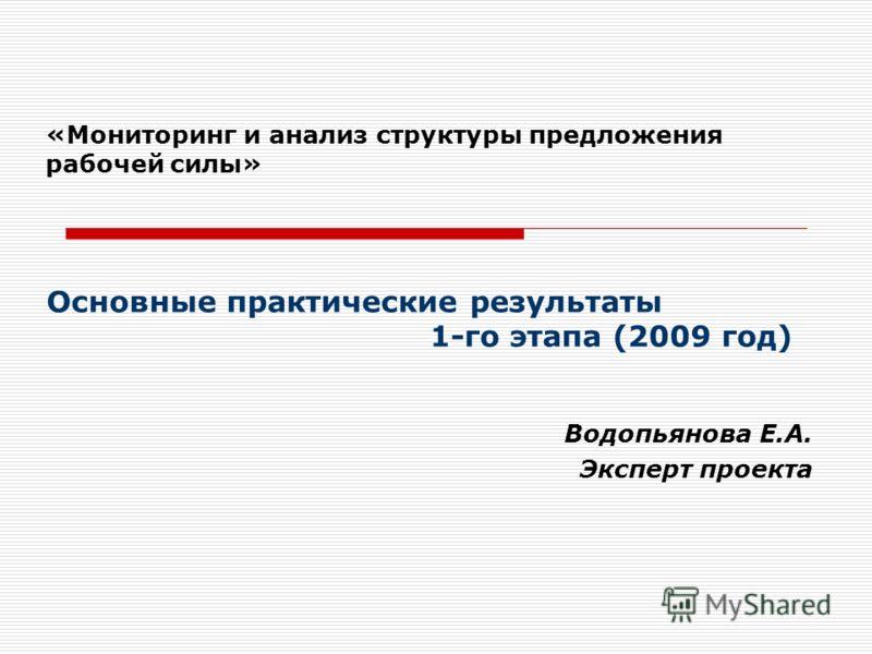 «Мониторинг и анализ структуры предложения рабочей силы» Водопьянова Е.А. Эксперт проекта Основные практические результаты 1-го этапа (2009 год)