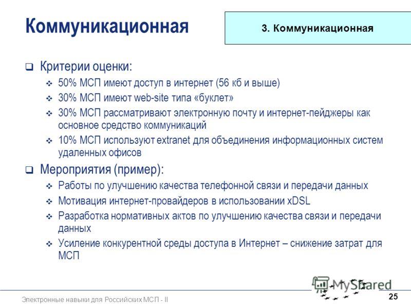 Электронные навыки для Российских МСП - II 25 Коммуникационная Критерии оценки: 50% МСП имеют доступ в интернет (56 кб и выше) 30% МСП имеют web-site типа «буклет» 30% МСП рассматривают электронную почту и интернет-пейджеры как основное средство комм