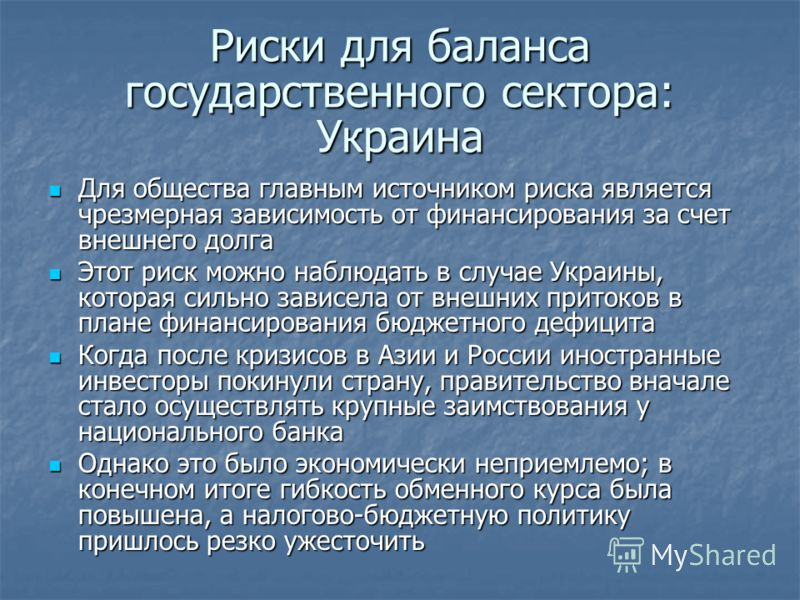 Риски для баланса государственного сектора: Украина Для общества главным источником риска является чрезмерная зависимость от финансирования за счет внешнего долга Для общества главным источником риска является чрезмерная зависимость от финансирования