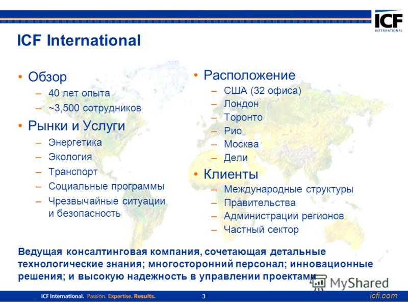 icfi.com 3 ICF International Обзор –40 лет опыта –~3,500 сотрудников Рынки и Услуги –Энергетика –Экология –Транспорт –Социальные программы –Чрезвычайные ситуации и безопасность Расположение –США (32 офиса) –Лондон –Торонто –Рио –Москва –Дели Клиенты