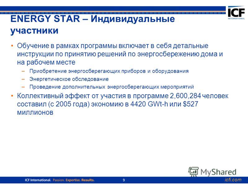icfi.com 9 ENERGY STAR – Индивидуальные участники Обучение в рамках программы включает в себя детальные инструкции по принятию решений по энергосбережению дома и на рабочем месте –Приобретение энергосберегающих приборов и оборудования –Энергетическое