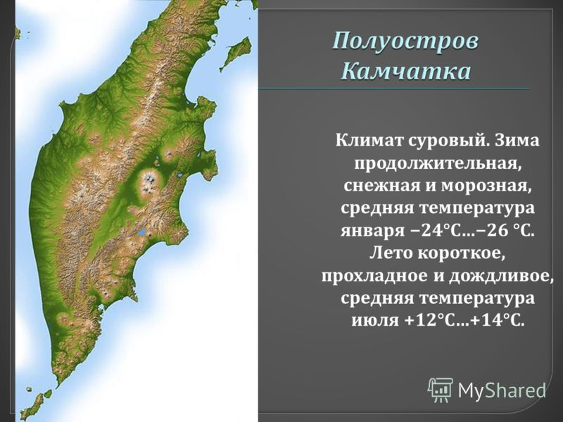 Климат с уровый. З има продолжительная, снежная и м орозная, средняя т емпература января 24°C… 26 °C. Лето к ороткое, прохладное и д ождливое, средняя т емпература июля +12°C…+14°C.