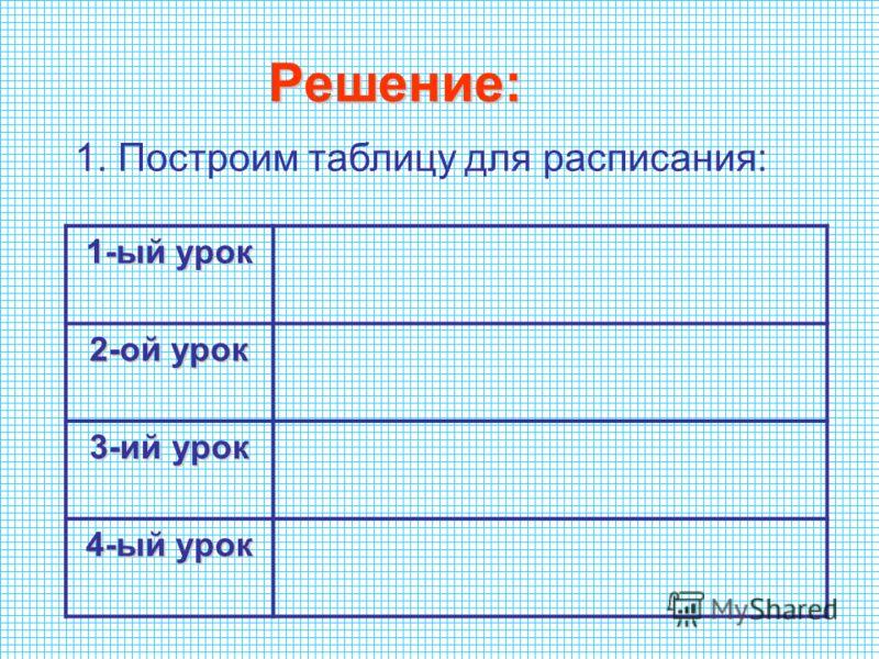 Решение: 1. Построим таблицу для расписания: 1-ый урок 2-ой урок 3-ий урок 4-ый урок