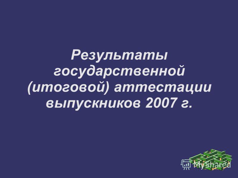 Результаты государственной (итоговой) аттестации выпускников 2007 г.