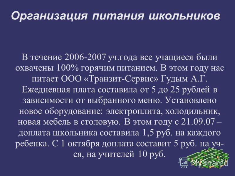 Организация питания школьников В течение 2006-2007 уч.года все учащиеся были охвачены 100% горячим питанием. В этом году нас питает ООО «Транзит-Сервис» Гудым А.Г. Ежедневная плата составила от 5 до 25 рублей в зависимости от выбранного меню. Установ