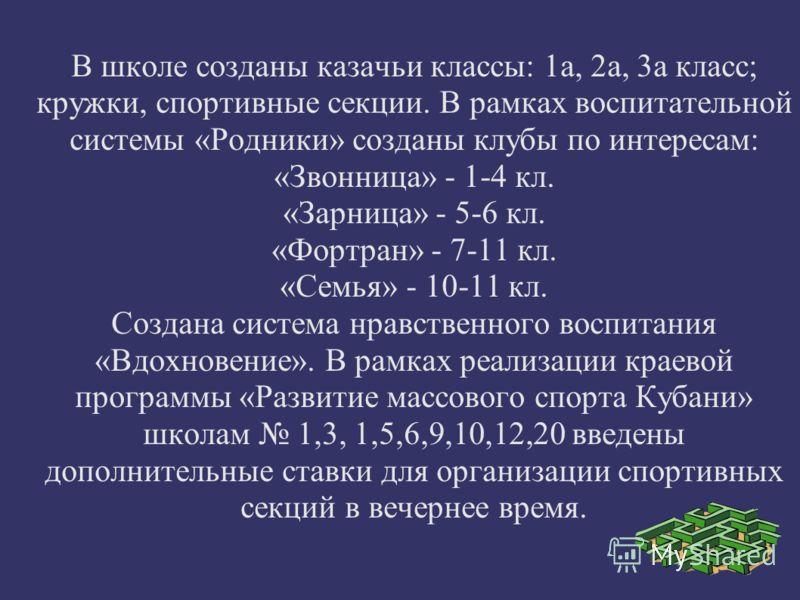 В школе созданы казачьи классы: 1а, 2а, 3а класс; кружки, спортивные секции. В рамках воспитательной системы «Родники» созданы клубы по интересам: «Звонница» - 1-4 кл. «Зарница» - 5-6 кл. «Фортран» - 7-11 кл. «Семья» - 10-11 кл. Создана система нравс