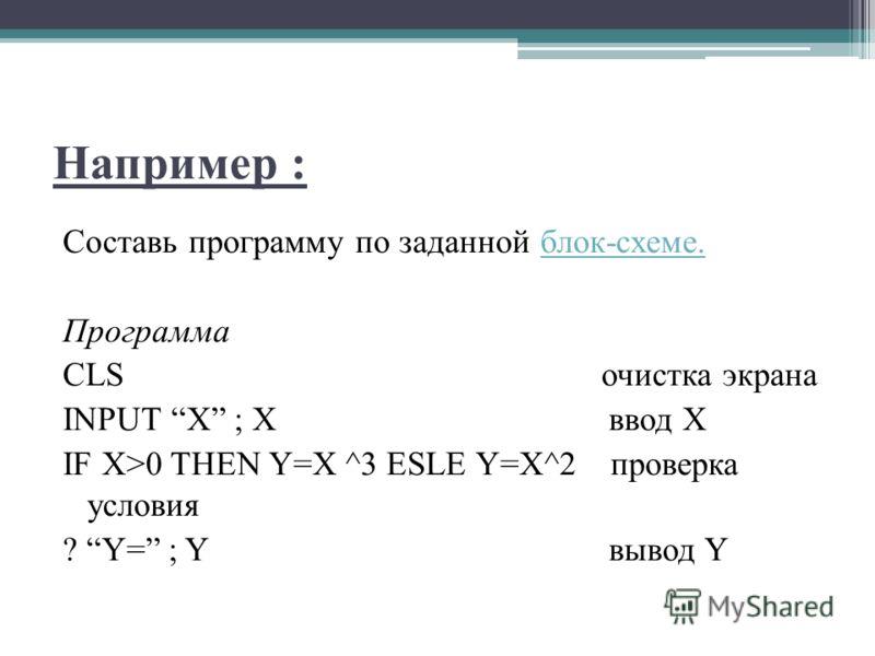 Например : Составь программу по заданной блок-схеме.блок-схеме. Программа CLS очистка экрана INPUT X ; X ввод X IF X>0 THEN Y=X ^3 ESLE Y=X^2 проверка условия ? Y= ; Y вывод Y