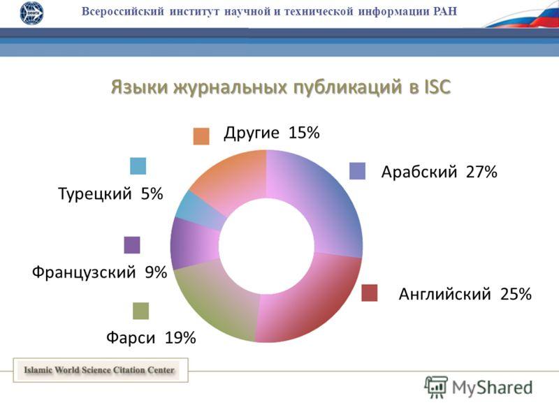 Всероссийский институт научной и технической информации РАН Английский 25% Арабский 27% Фарси 19% Французский 9% Турецкий 5% Языки журнальных публикаций в ISC Другие 15%