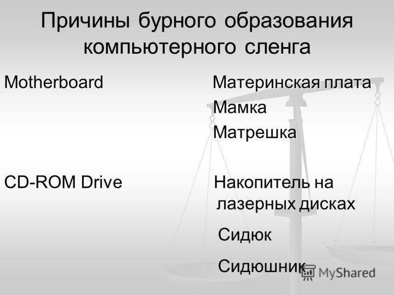 Причины бурного образования компьютерного сленга Мotherboard Материнская плата Мамка Мамка Матрешка Матрешка CD-ROM Drive Накопитель на лазерных дисках Сидюк Сидюшник