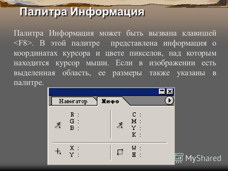 Палитра Информация Палитра Информация может быть вызвана клавишей. В этой палитре представлена информация о координатах курсора и цвете пикселов, над которым находится курсор мыши. Если в изображении есть выделенная область, ее размеры также указаны