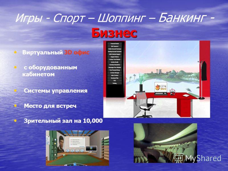 Бизнес Игры - Спорт – Шоппинг – Банкинг - Бизнес Виртуальный 3D офис с оборудованным кабинетом Системы управления Место для встреч Зрительный зал на 10,000